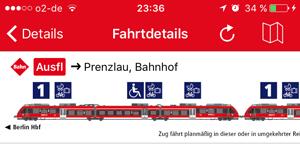 Anzeige der Fahrradwaggons in der VBB App - Fahrradmitnahme DB